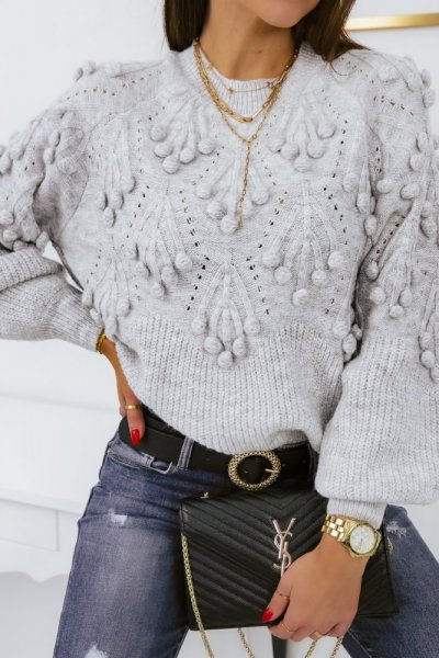 Sweter POPPI 2 lux - grey