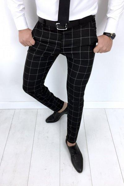 Spodnie męskie czarne/biała krata H6