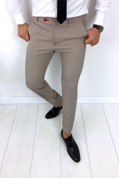 Spodnie męskie w kant - camel - H11