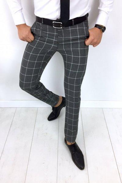 Spodnie męskie szare w kratę H9