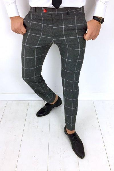 Spodnie męskie w kant szare, biała krata - H12