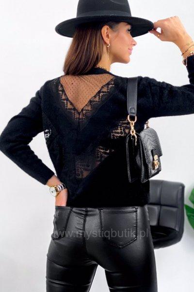 Sweter LOUIS koronki na plecach - black