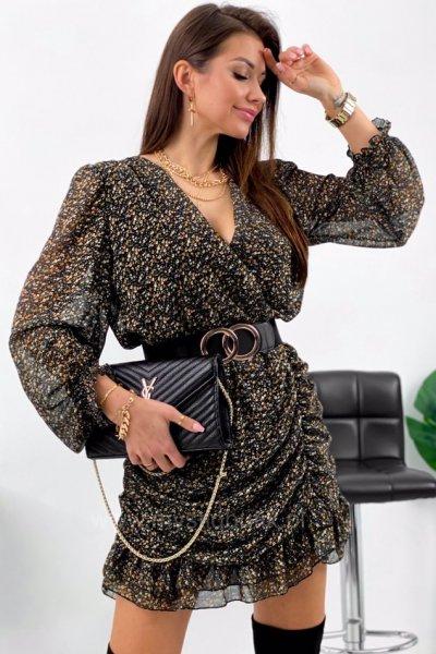Sukienka MONA w drobne kwiatki - black