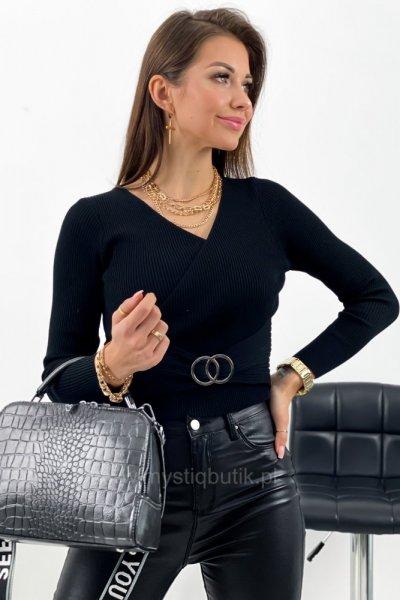 Sweter z zakładanym dekoltem - black
