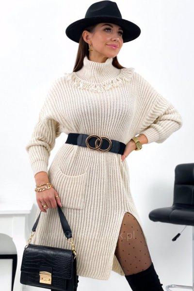 Sukienka swetrowa KELLY - ecre
