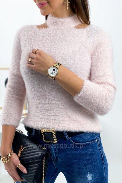 Sweter z wycięciami - pudrowy róż