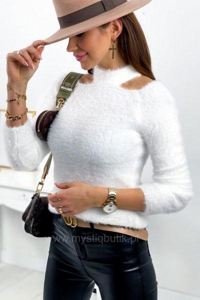 Sweter z wycięciami - white