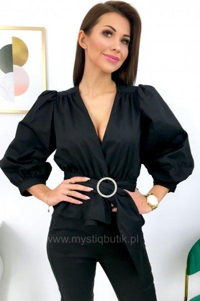 Bluzka z zakładanym dekoltem - black