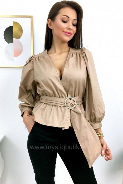 Bluzka z zakładanym dekoltem - beige