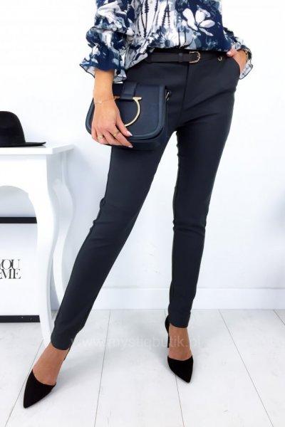 Spodnie cygaretki z paskiem - grafit
