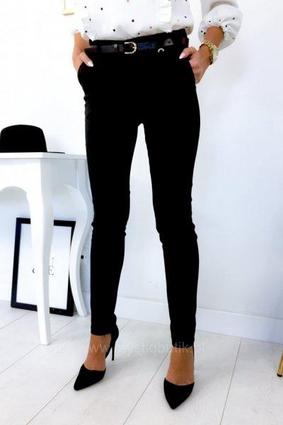 Spodnie cygaretki z paskiem - czarne