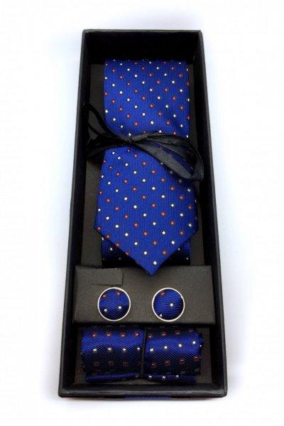 Komplet męski krawat + spinki + poszetka granat w kropki