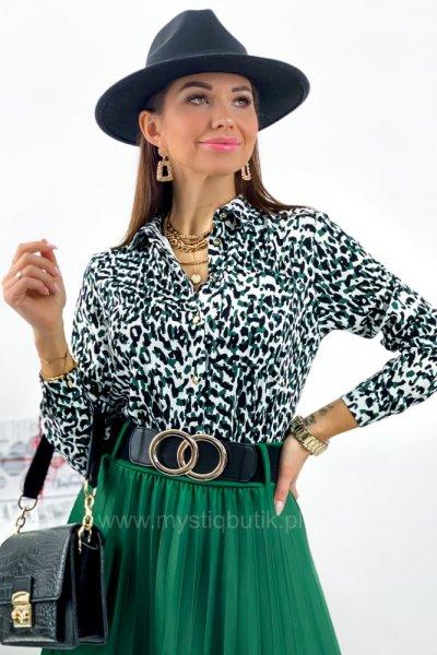 Koszula PURRA w panterkę - black/white/green