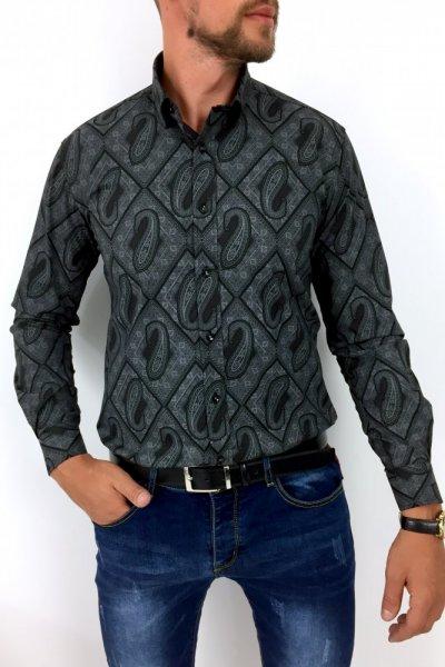 Koszula męska ornament6 czarna