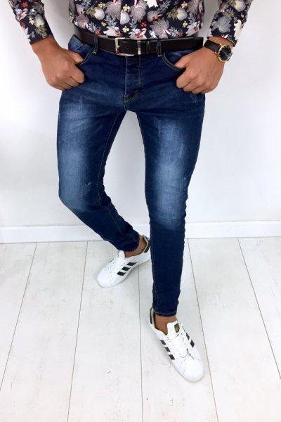 Spodnie męskie jeans z delikatnymi przetarciami OMG2725A