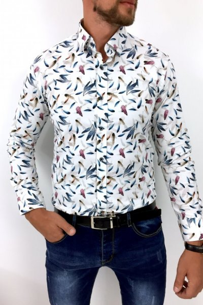 Koszula męska w kolorowe pióra