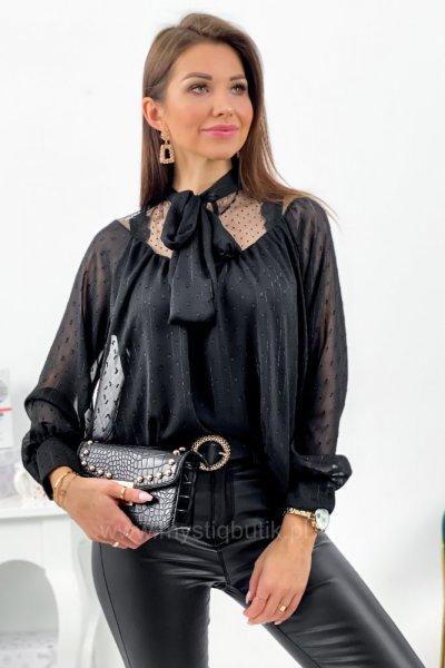 Bluzka z wiązaniem pod szyją MOOSE - black