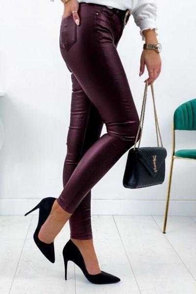 Spodnie woskowe - bordo