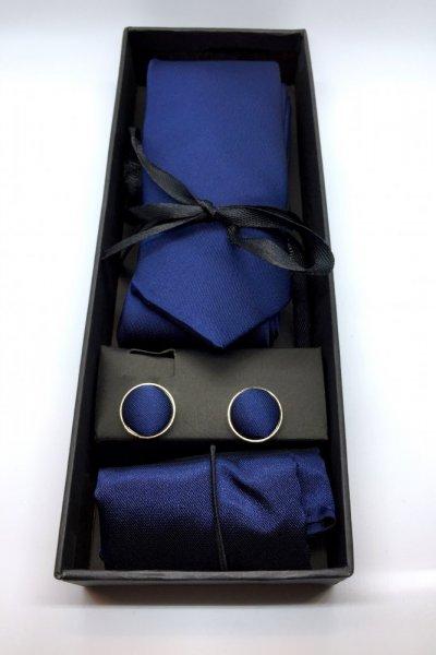 Komplet męski krawat+spinki+poszetka granat