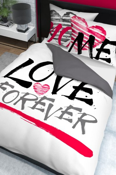 Pościel Holenderska LOVE FOREVER - 160x200 - czarno-amarantowa