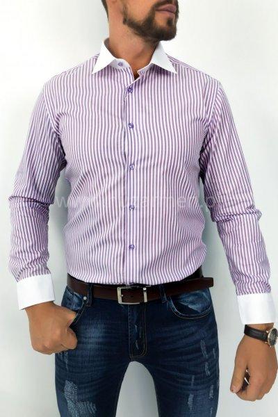 Koszula męska w pasy - lila