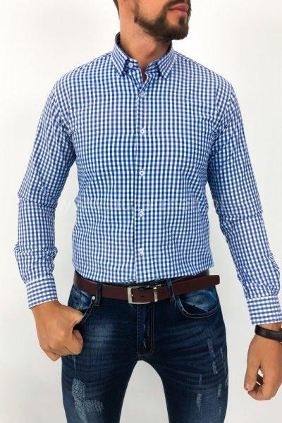 Koszula męska w biało niebieską kratę