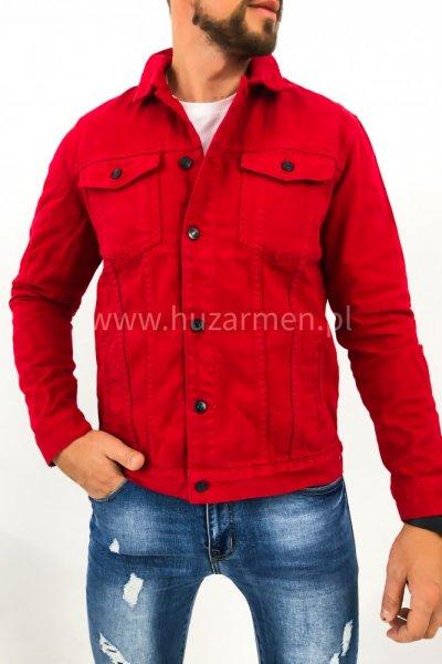 Kurtka męska jeans czerwona XSF 78204