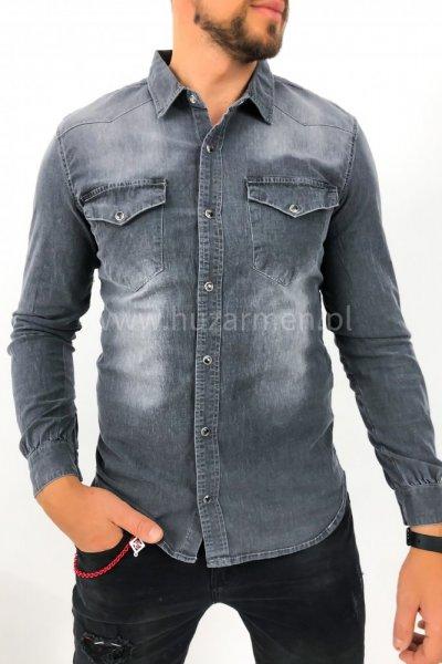 Koszula męska jeans SP634 - ciemny szary