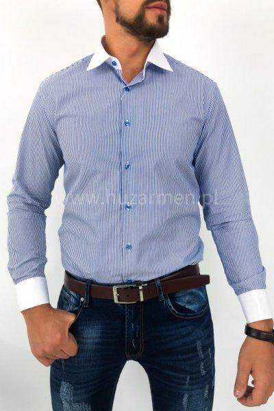 Koszula męska w pasy - ciemny niebieski