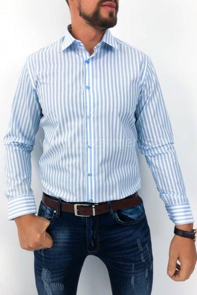 Koszula męska w błękitne pasy