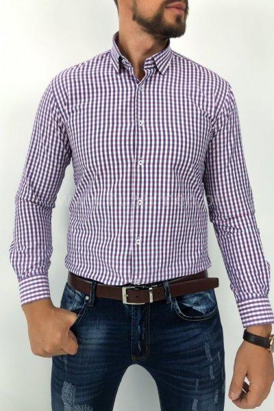 Koszula męska w kratę niebiesko różową