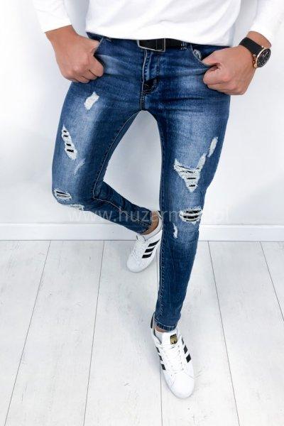 Spodnie męskie jeans z przetarciami HC6610