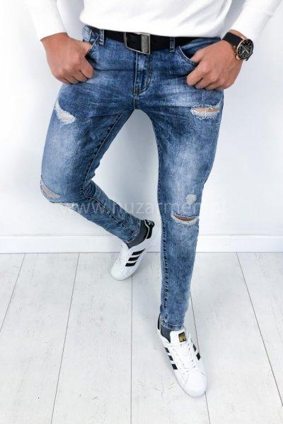 Spodnie męskie jeans z przetarciami HC6602