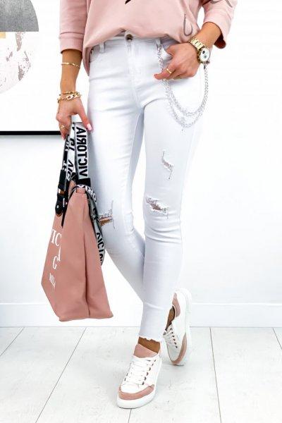 Spodnie jeans/skinny z przetarciami 2 - white
