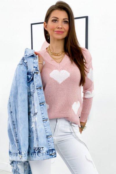 Sweter Big Heart - pudrowy róż