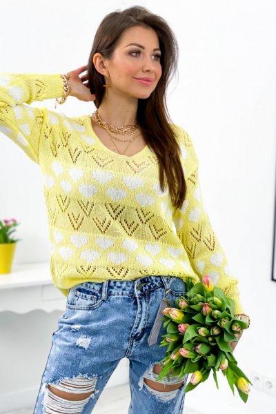 Sweter Heart - yellow