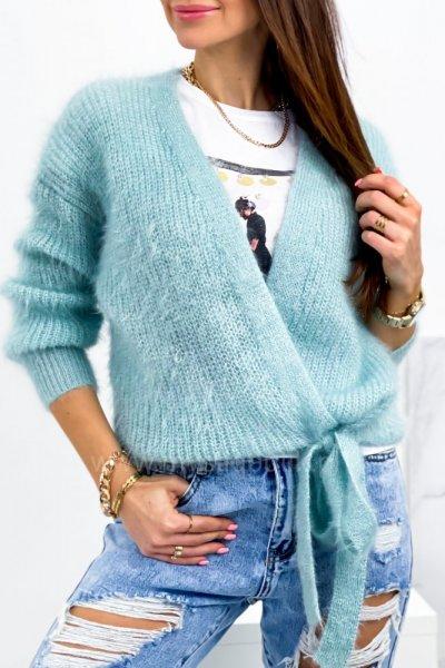 Sweter SOFTY z wiązaniem - blue