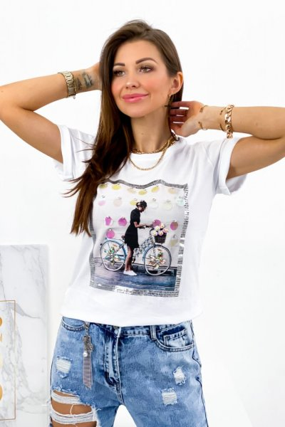 T shirt GIRL bicycle - white