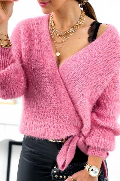 Sweter SOFTY z wiązaniem - pink