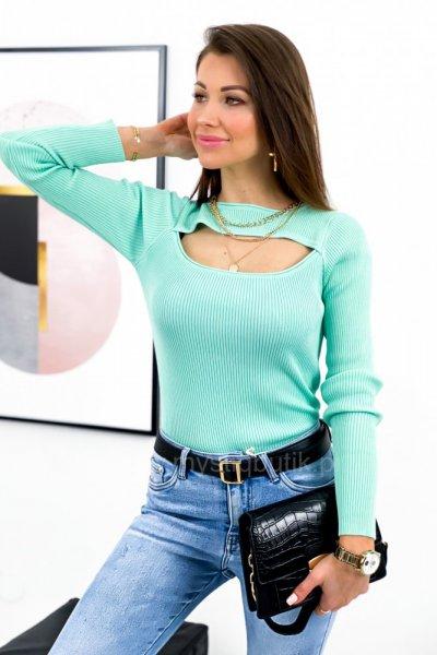 Bluzka sweterkowa z wycięciem - mint