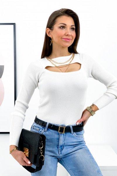 Bluzka sweterkowa z wycięciem - ecru