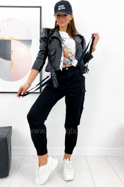 Spodnie bojówki z szelkami - black