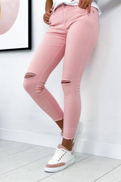 Spodnie jeansy skinny z rozcięciami - pink