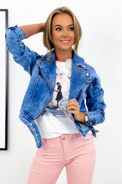 Katana/kurtka jeans z paskiem - blue