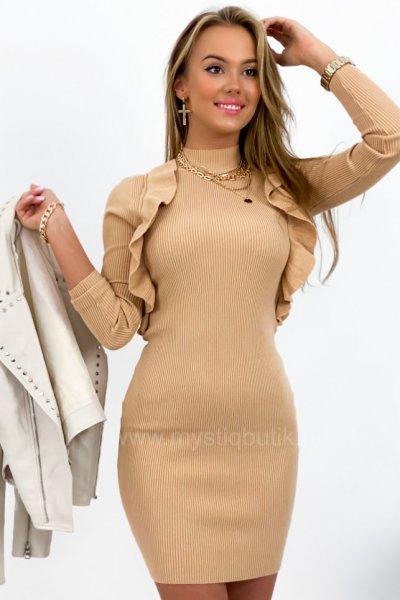 Sukienka tuba z falbankami - camel