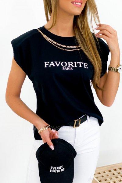 T-shirt Favorite z łańcuszkiem - black