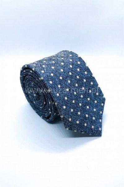 Krawat męski w groszki - niebieski