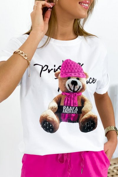 T-shirt Miś - white