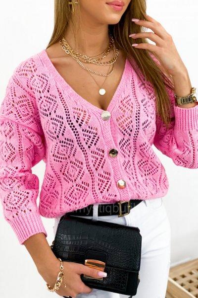 Sweter/kardigan AŻUR - różowy