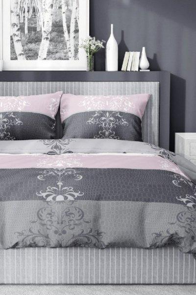 Pościel Bawełna Satynowa 160x200 - szaro-różowa